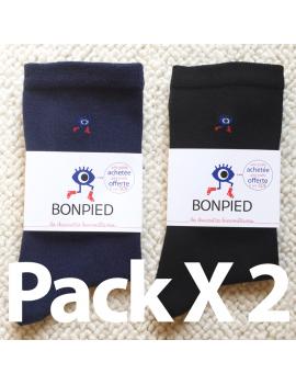 Pack de 4 paires de chaussettes Sacha en fil recyclé (2 noires + 2 bleu marine) 42-46