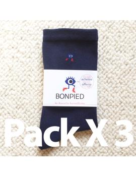 Pack de 3 paires de chaussettes Sacha (en fil recyclé) bleu marine 42-46