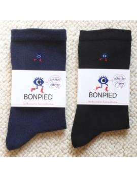 Pack de 2 paires de chaussettes Sacha en fil recyclé (1 noire + 1 bleu marine) 36-41