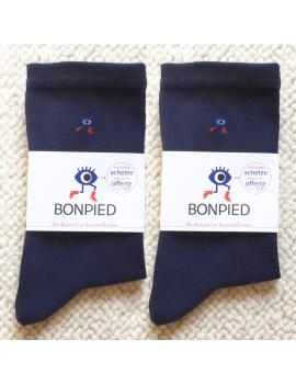 Pack de 2 paires de chaussettes Sacha (en fil recyclé) bleu marine 42-46