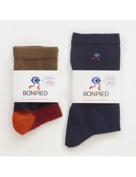 Pack de 2 paires de chaussettes: Romeo & Sacha marine