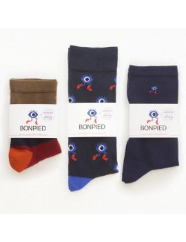 Pack de 3 paires de chaussettes: Roméo, le Grand Edgar & Sacha marine