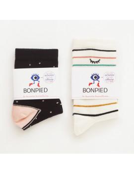 Pack de 2 paires de chaussettes: Claudine & Simone