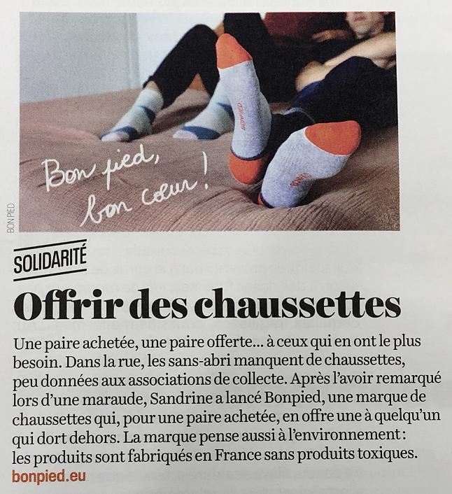 Bonpied, les chaussettes bienveillantes dans LaCroix hebdo novembre 2019